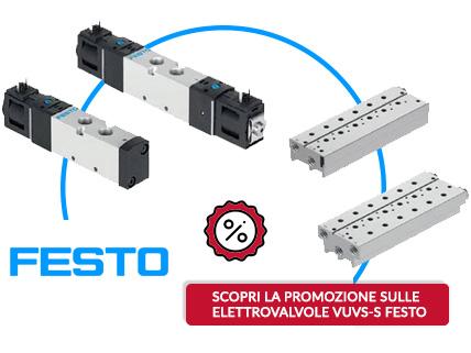 Scopri la promozione sulle elettrovalvole Festo VUVS-S e le sottobasi